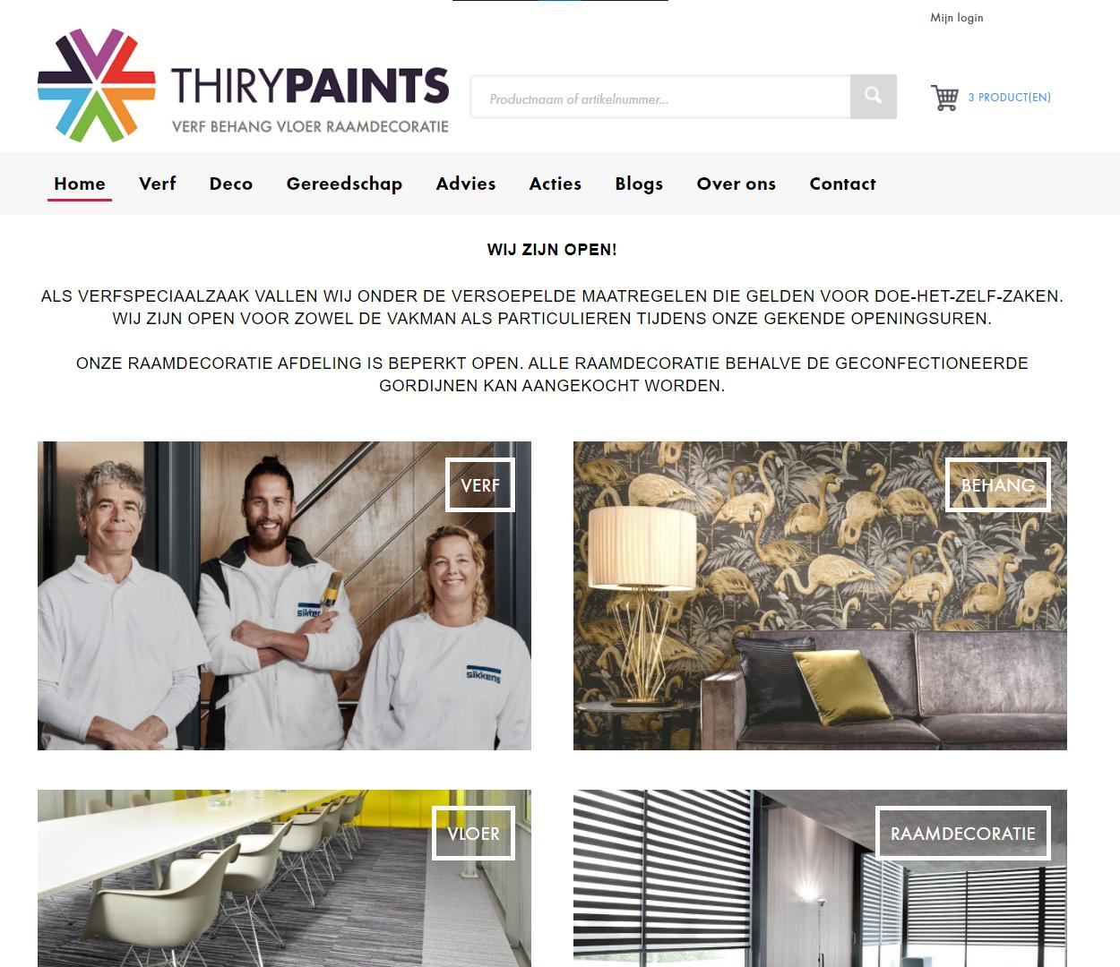 Thiry Paints homepagina