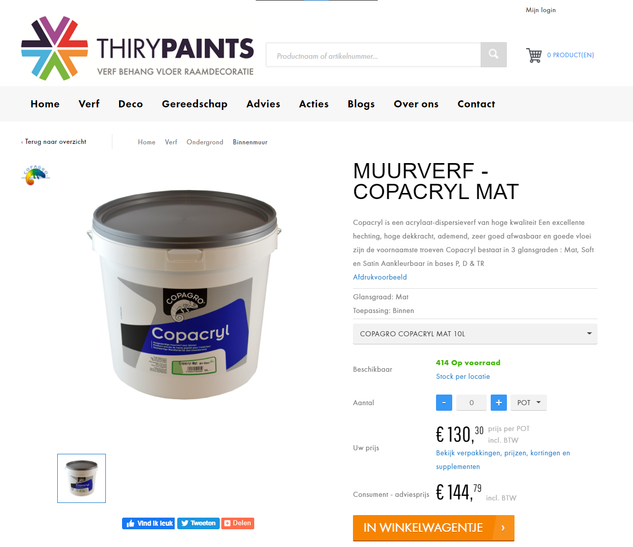 Thiry Paints webshop productpagina