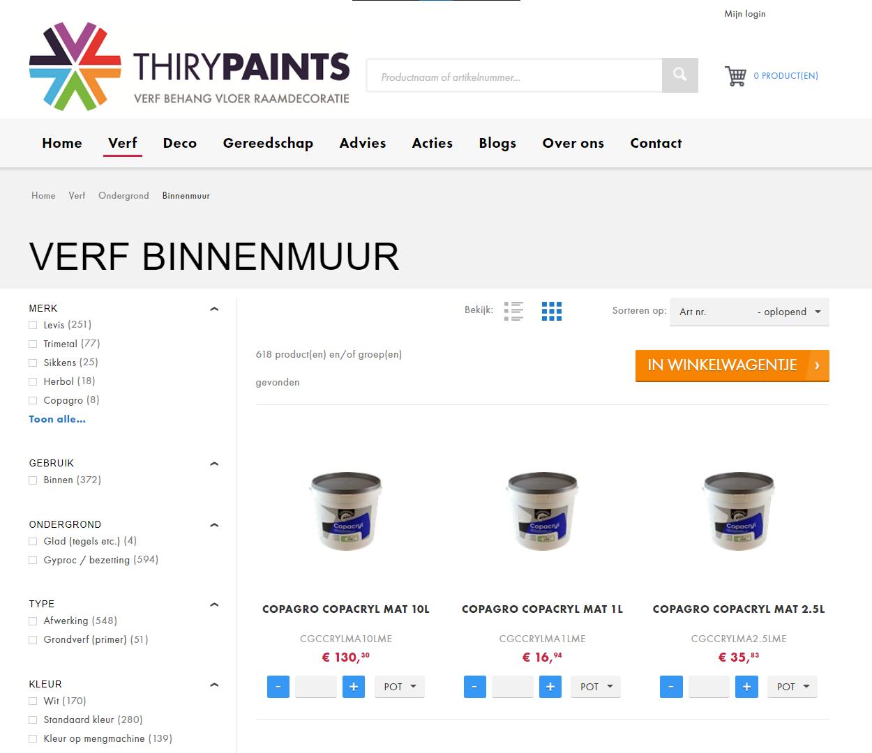 Thiry Paints webshop productoverzicht